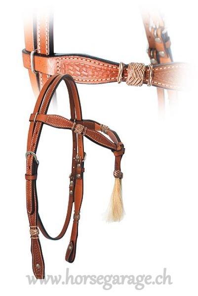 ProLine Westernzaum mit Pferdehaar-Tasseln und Rohhaut-Akzenten
